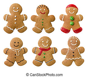 Collection of different gingerbread men on a white...
