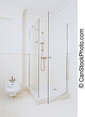 Modern high gloss shower - Close up of modern high gloss...