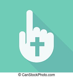 Long shadow pointing finger hand with a christian cross