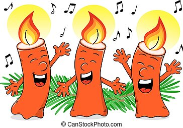 cartoon Christmas candles singing a Christmas carol - vector...