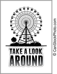 Silhouette of a ferris wheel at the park Typography card...