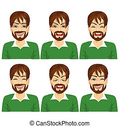 isolated set of male hipster avatar expressions