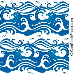 Seamless waves pattern - Seamless stormy ocean waves pattern