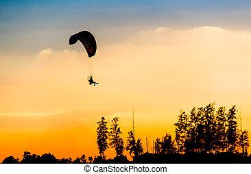 Paramotor, voando, silueta,