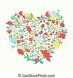 Heart and flowers vivid color vector illustration - Heart...