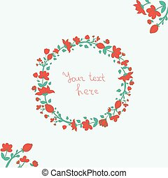Wreath red flowers vector illustration