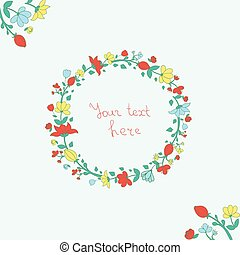 Wreath flowers vector illustration