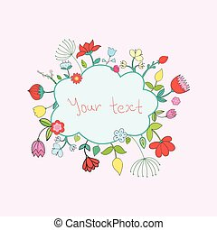 Frame flowers for text vector illustration