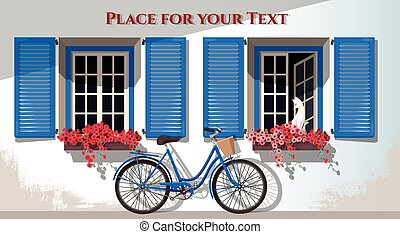 Windows and bicycle - Illustration of windows with shutters...