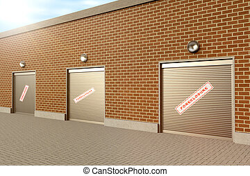 Closed Store - Closed roller doors at business with...