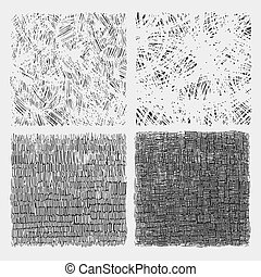 Set of rough hatching drawing texture vector illustration -...