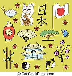 Seamless Japanese symbols yellow background
