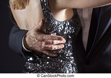 closeup of ballroom dancing - detail of couple ballroom...