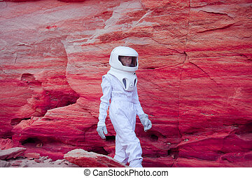 futuristic astronaut on crazy pink planet, image with the...