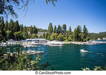 Lake Arrowhead Shoreline - Lake Arrowhead with boats moored...