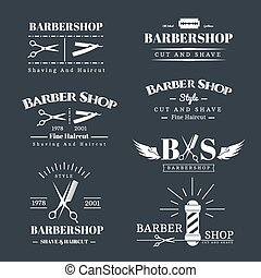 Barbershop design elements - Vector set of retro barber shop...