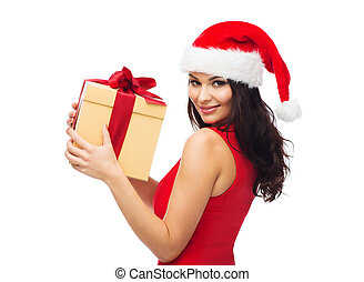 beautiful sexy woman in santa hat with gift box - people,...