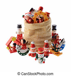 Lot of multicolored Christmas decorations in a Santa Claus...