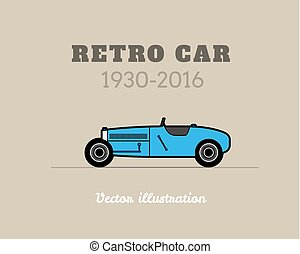 Retro sport racing car, vintage collection