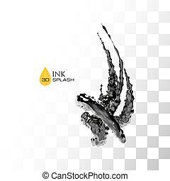 Black 3D ink or oil splash isolated on white, vector...