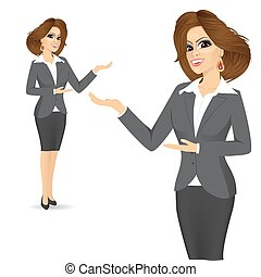 cute business woman showing something - Full body portrait...