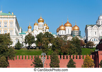 Uspensky and Blagoveschensky cathedrals of Moscow Kremlin...