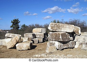 stone blocks - Stone blocks at a construction site