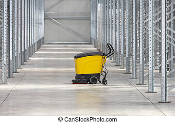 Cleaning Warehouse - Walk Behind Scrubber Machine For...