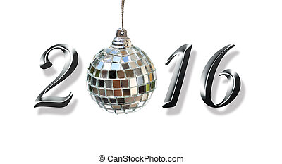 2016, new year - silver 2016 with a mirror ball isolated on...