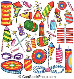 Colorful firecracker for Diwali - vector illustration of...