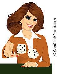 woman throwing the dice gambling playing craps