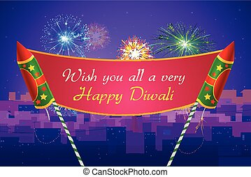 Colorful firecracker for Happy Diwali - vector illustration...