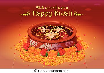 Holy diya for Diwali festival - vector illustration of holy...
