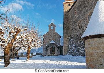 Dinky chapel near the castle of Gruyeres - GRUYERE,...