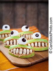 asustadizo, Halloween, alimento, Monstruos, sano, natural,...