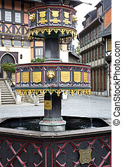Historic fountain in the town of Wernigerode, Germany