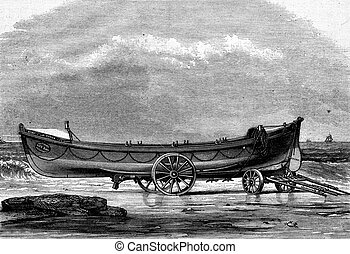 The Quiver, lifeboat built in England, vintage engraving. -...