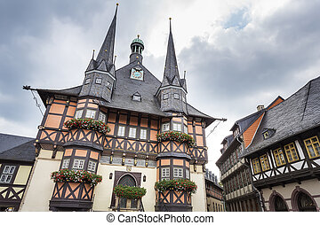 The historic townhall of Wernigerode, Germany