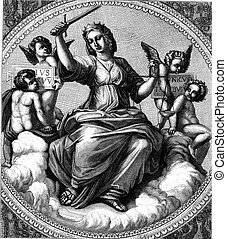 Justice, fresco by Raphael in the Vatican, vintage engraving...