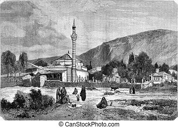 At Meydan, in Trabzon, vintage engraving - At Meydan, in...