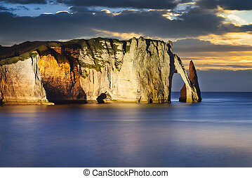 Etretat cliff in normandy - Falaise dAmont cliff at Etretat,...
