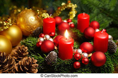 Advent wreath with one burning candle - Studio shot of a...