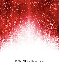 Red white Christmas background with lights and snowflakes