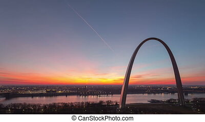 Time lapse St Louis Gateway Arch - Time lapse aerial view St...