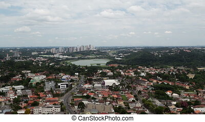 Timelapse Curitiba aerial view - Time lapse aerial panoramic...