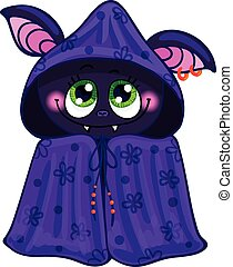 Bat on Halloween Vector illustration