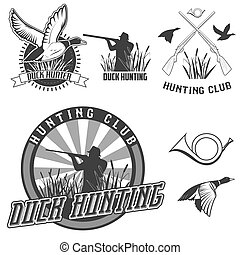 duck hunting - set of vector labels with duck, dip, gun,...