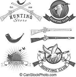 hunting club [Converted].eps - set of vector labels with...