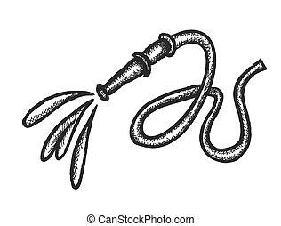 doodle hose with water splash, vector illustration