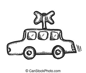doodle toy car, vector illustration